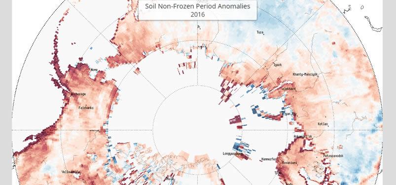 Carte du NSIDC sur le nombre de jours de terre dégelée.