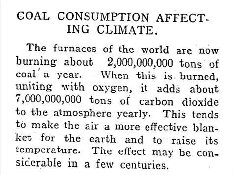 Article de 1912 sur les effets du charbon sur le climat