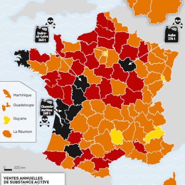 Carte de France du Glyphosate