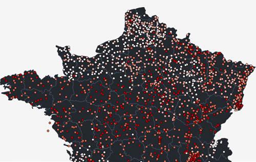 Carte des pesticides en eau souterraine par Data-Pesticides