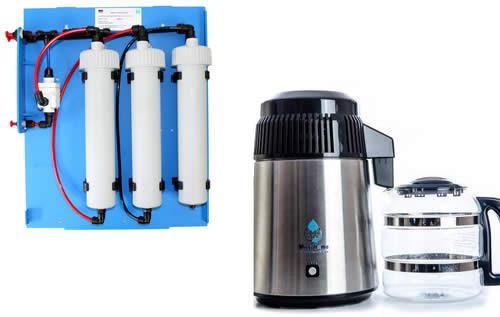 Image d'un filtre d'eau osmosée Rowa et d'un distillateur d'eau MegaHome