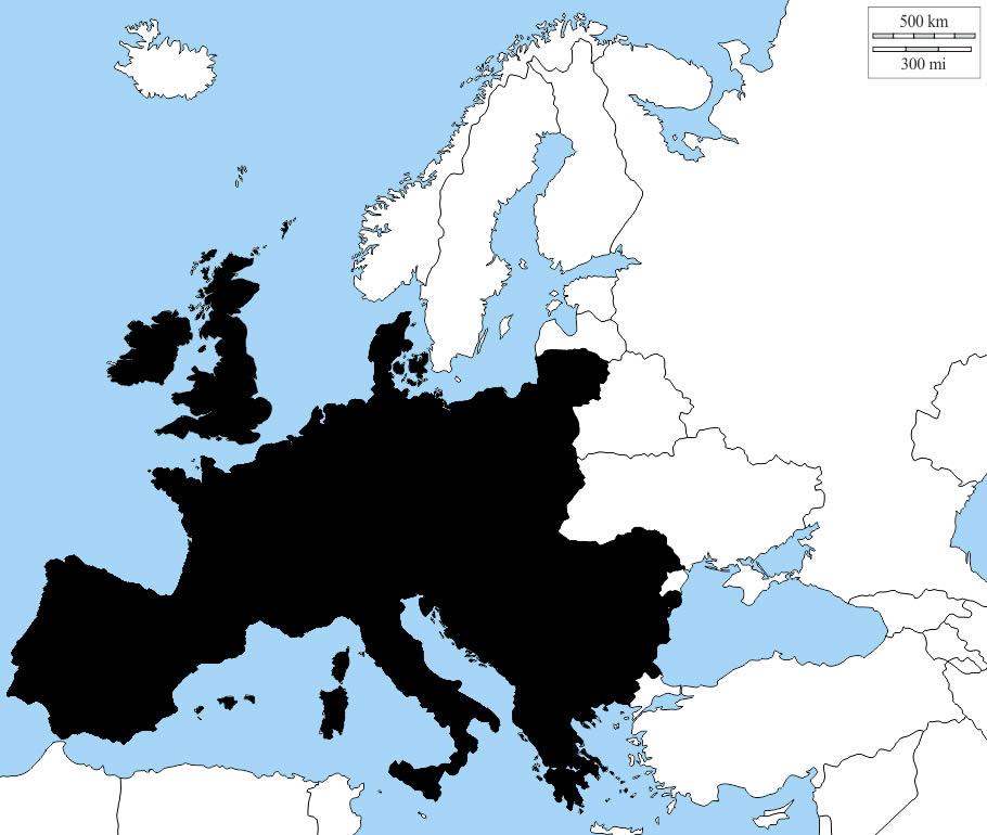 Correspondance entre la surface de l'Europe et de la surface des glaces qui a disparu dans l'Arctique.