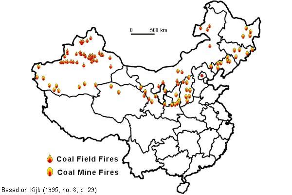 Carte des feux de mines à charbon en Chine