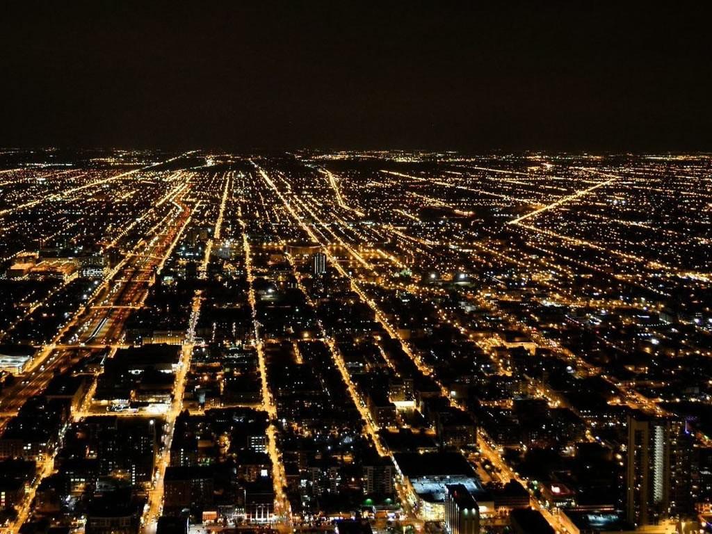 Ville éclairée par les lampadaires la nuit