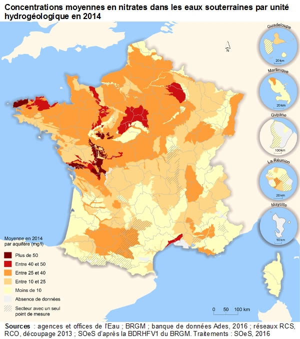 Carte de France de la pollution aux nitrates en 2014