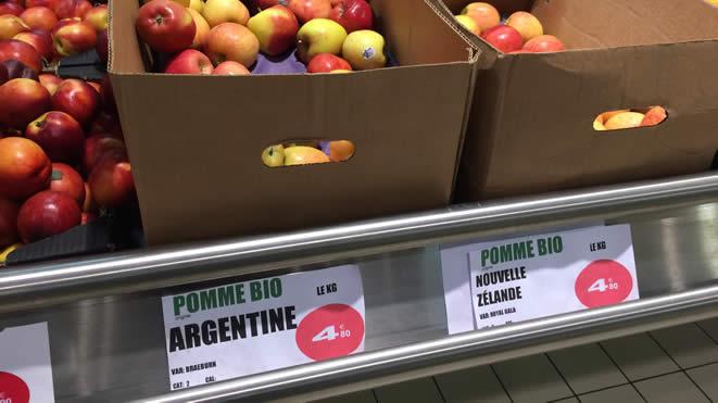 Les pommes biologiques des magasins E. Leclerc proviennent de l'autre bout du monde !