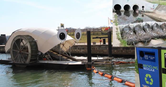 Systèmes de collecte des déchets par filtrage des fleuves.