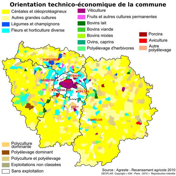 Les surfaces agricoles en Ile-de-France par l'Agreste