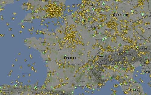 Carte du trafic aérien en France