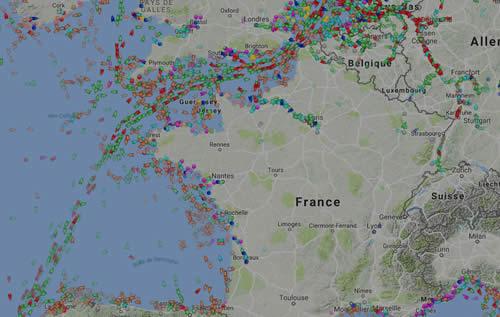 Carte du traffic maritime en Live